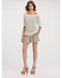 Theory - White Nimue Crocheted Sweater - Lyst