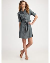 Tory Burch | Gray Brigitte Chambray Shirt Dress | Lyst