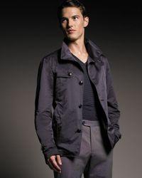 Giorgio Armani | Black Leather-trim Caban Coat for Men | Lyst