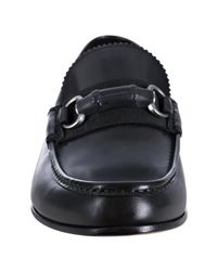 Gucci - Black Leather Bamboo Horsebit Loafers for Men - Lyst