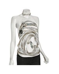 Gucci | White Scarf Printed Silk Backless Halter Top | Lyst