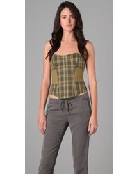 L.A.M.B. | Green Plaid Bustier Top | Lyst