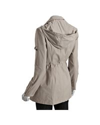 Laundry by Shelli Segal | Gray Sea Shell Cotton Blend Drawstring Hooded Anorak | Lyst