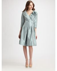 Teri Jon | Blue Taffeta Portrait Collar Dress | Lyst