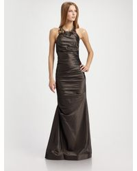 Teri Jon | Black Taffeta Necklace Halter Gown | Lyst