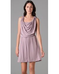 Halston | Purple Front Cowl Dress | Lyst
