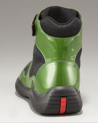 Prada | Patent Leather Hi-top, Green for Men | Lyst