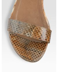 Stuart Weitzman - Brown Snake-embossed Leather Flat Sandals - Lyst