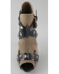Ash | Black Military Canvas Giorgia Sudded Cutout Bootie | Lyst