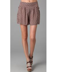 Free People | Brown Polka Dot Staying Cool Skort in Taupe | Lyst