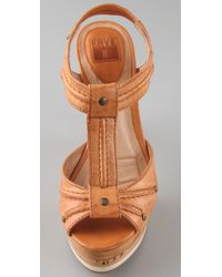 Frye | Brown Kara T Strap Platform Sandals | Lyst