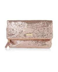 Halston | Pink Jenny Fold Sequined Clutch | Lyst