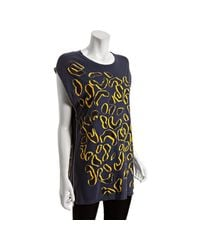 Marc By Marc Jacobs | Blue Sailor Navy Flocked Leopard Print Side Zipper Tunic Tee | Lyst