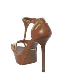 Sergio Rossi - Brown 140mm Gold Plated T-bar Sandals - Lyst