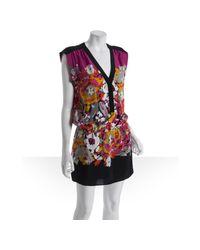BCBGMAXAZRIA | Red Pink Silk Floral Print V-neck Dress | Lyst