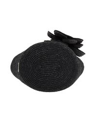 kate spade new york | Black Lawn Party Large Straw Tate | Lyst