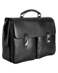 Prada | Black Leather Dual Pocket Flap Briefcase for Men | Lyst