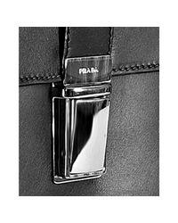 Prada - Black Leather Dual Pocket Flap Briefcase for Men - Lyst