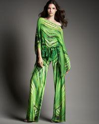 Roberto Cavalli | Green Palm Print Silk Pants | Lyst