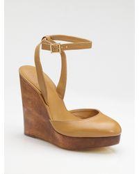 Tory Burch | Brown Drea Wood Wedge Sandals | Lyst