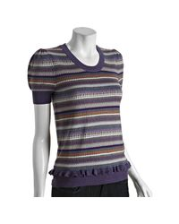 Marc By Marc Jacobs | Purple Knit Striped Ruffle Detail Short Sleeve Sweater | Lyst