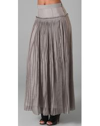 Robert Rodriguez | Gray Chiffon Pleated Long Skirt | Lyst