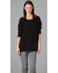 T By Alexander Wang | Black Boat Neck Cotton Sweater | Lyst