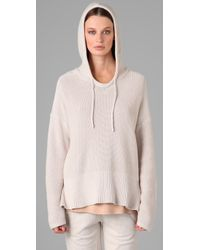T By Alexander Wang | Natural Cotton Poncho Hoodie | Lyst