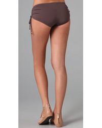 Tibi | Brown Drawstring Boy Short Bikini Bottoms | Lyst