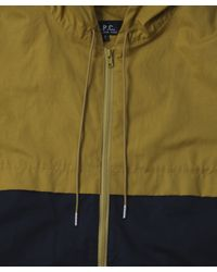 A.P.C. - Blue Navy Two Tone Hooded Jacket for Men - Lyst