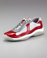 Prada | Red Patent-leather Sneaker for Men | Lyst