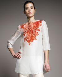 Giambattista Valli | White Organza Baroque-print Tunic | Lyst