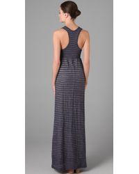 James Perse | Blue Striped Cotton-blend Maxi Dress | Lyst