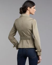 Moncler - Green Ruffle-collar Short Trench Coat - Lyst