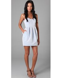 Shoshanna   Blue Strapless Dress with Tulip Skirt   Lyst