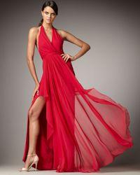 Marchesa | Blue Flyaway Halter Gown | Lyst
