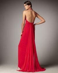 Marchesa - Blue Flyaway Halter Gown - Lyst