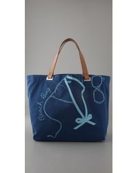 Anya Hindmarch | Blue Large Canvas Beach Tote | Lyst