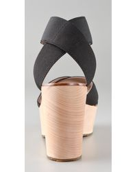 Belle By Sigerson Morrison | Black Wooden Wedge Sandals | Lyst