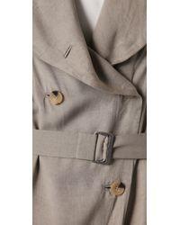 Helmut Lang | Green Satin Trench Coat | Lyst