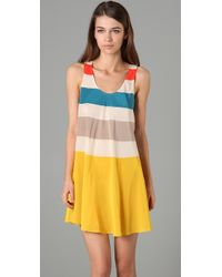 Marc By Marc Jacobs - Yellow Simone Silk Striped Dress - Lyst