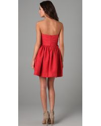 Shoshanna | Red Tuck Detail Strapless Dress | Lyst