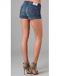 True Religion | Blue Allie Cuffed Shorts | Lyst