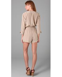 Twelfth Street Cynthia Vincent - Natural Button Front Romper - Lyst