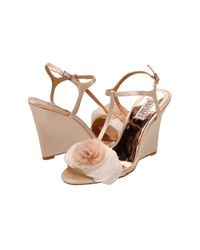 Badgley Mischka | Natural Lyndee Evening Wedge Sandals | Lyst
