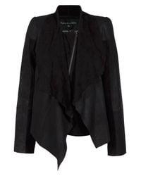 Designers Remix - Black Louisana Drape Leather Jacket - Lyst