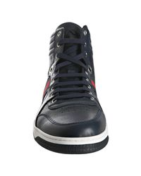 Gucci - Royal Blue Leather Web Stripe High Top Sneakers for Men - Lyst