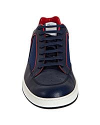 Gucci - Blue Navy Leather Trim Mesh Tennis Sneakers for Men - Lyst