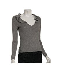 Boutique Moschino | Gray Grey Metallic Wool Ruffle V-neck Sweater | Lyst
