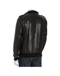 Prada - Black Leather Button Front Bomber Jacket for Men - Lyst